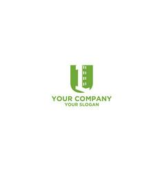 U first building logo design vector