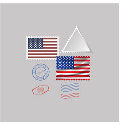 United states america flag postage stamp set vector