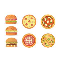 various fast food cartoon vector image