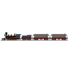 Vintage american steam passenger train vector