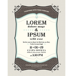 vintage wedding invitation border and frame templa vector image