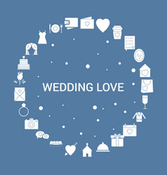 Wedding love icon set infographic template vector