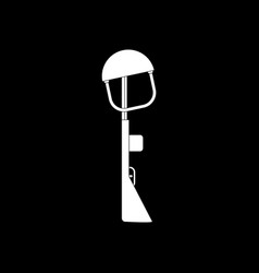 White icon on black background military rifle vector