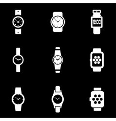 White wristwatch icon set vector