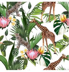 wild animals giraffe cheetah zebra in savannah vector image