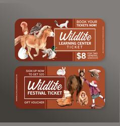 Winter animal voucher design with horse deck girl vector
