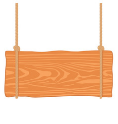 Wooden singboard hanging on ropes vector