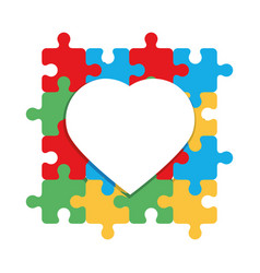 World autism day heart on colored puzzles pieces vector