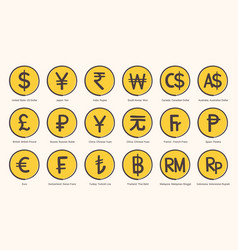 world currency symbol icons in format vector image