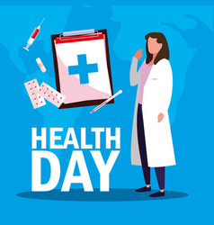 World health day card with doctor woman and icons vector