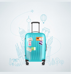 color plastic travel bag with different travel vector image