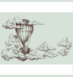 hot air balloon up in the sky retro poster vector image
