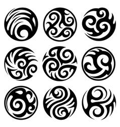 round tribal tattoos set vector image