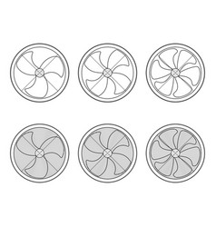 set of icons fan ventilation graphic signs vector image