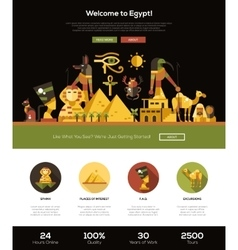 Traveling to Egypt website header banner with vector image