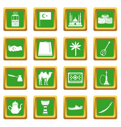 turkey travel icons set green vector image vector image
