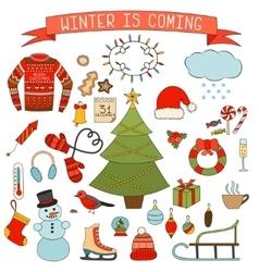 Winter and Christmas icons set Hand drawn vector image