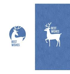 Deer on retro wooden blue background vector image