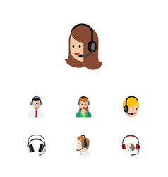 flat hotline set of headphone help secretary and vector image vector image