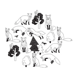Fox forest black isolate objects white vector image
