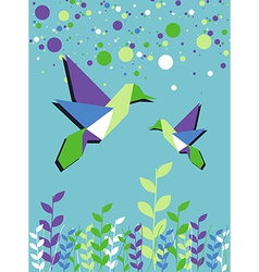 Origami hummingbird couple spring time vector image vector image