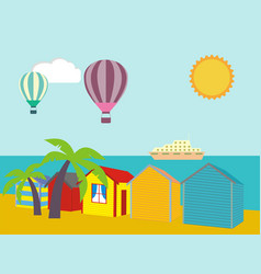 A row of beach huts against blue sky and sand and vector