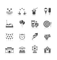 Amusement Park Icons Black vector image