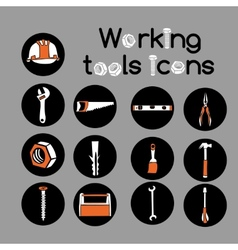 Carpenter working tools icons set vector