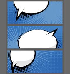 comic book balloon horizontal blue blank banner vector image vector image