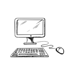 Desktop computer with mouse and keyboard vector
