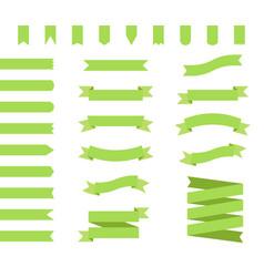 ribbons set design in green flat ribbon banners vector image vector image
