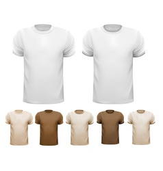 Set of white and colorful male shirts vector image