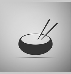 bowl with asian food and pair of chopsticks icon vector image
