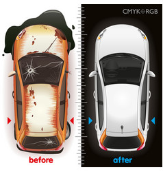 car before repair and after vector image vector image