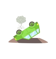 Car Laying On Its Roof After A Crush vector image vector image