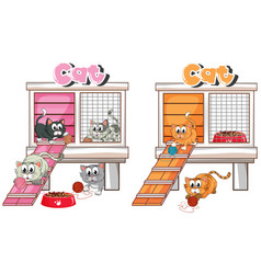 many cats in cat cage vector image vector image