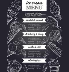 menu of ice cream hand drawing vector image vector image