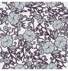 Seamless floral lace background in dark blue tones vector image vector image