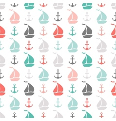 Seamless pattern of anchor and sailboat shape vector image vector image
