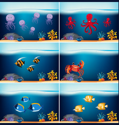 six underwater scenes with different sea animals vector image vector image
