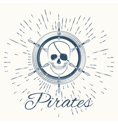 skull pirate and vintage sun burst frame vector image vector image