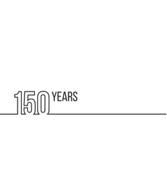 150 years anniversary or birthday linear outline vector image