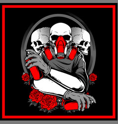 3 skull holding spray paint hand drawing vector