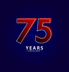 75 years excellent anniversary celebration red vector