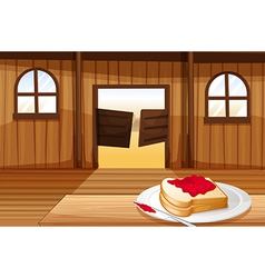 A table with sandwich in plate inside vector