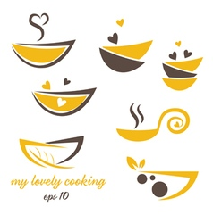 Abstract icon eco bowl with leaf and heart vector