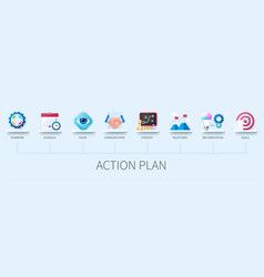 Action plan infographic in 3d style vector
