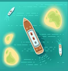 Aerial eye view sea boats and ship part ocean vector