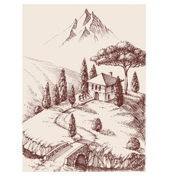 alpine farm hand drawing mountains in the vector image