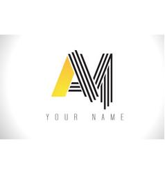 Am black lines letter logo creative line letters vector